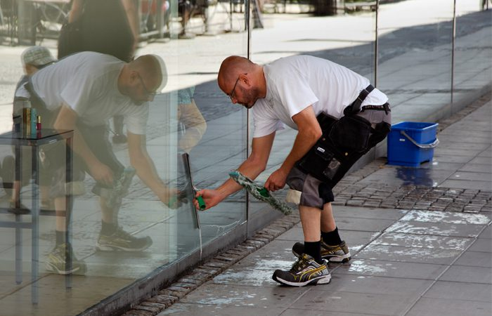 Cleaning shopfront