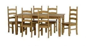 Mexican Pine Dining Set With 6ft Table