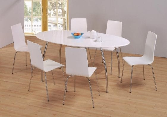 Fiji High Gloss In White Oval Dining Set