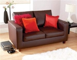 Faux Leather Chestfield Sofa In Brown