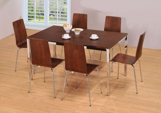 Walnut Rectangle Set with 4 Chairs