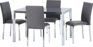 Charisma Grey and Gloss Table with 4 Chairs