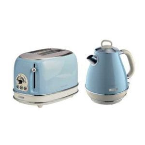 Vintage Blue Kettle & Toaster Set