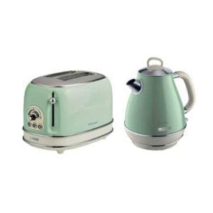 Vintage Green Kettle & Toaster Set