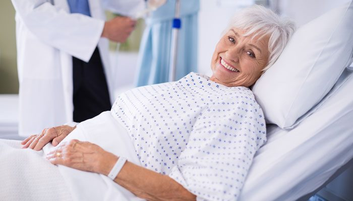 Smiling woman in hospital
