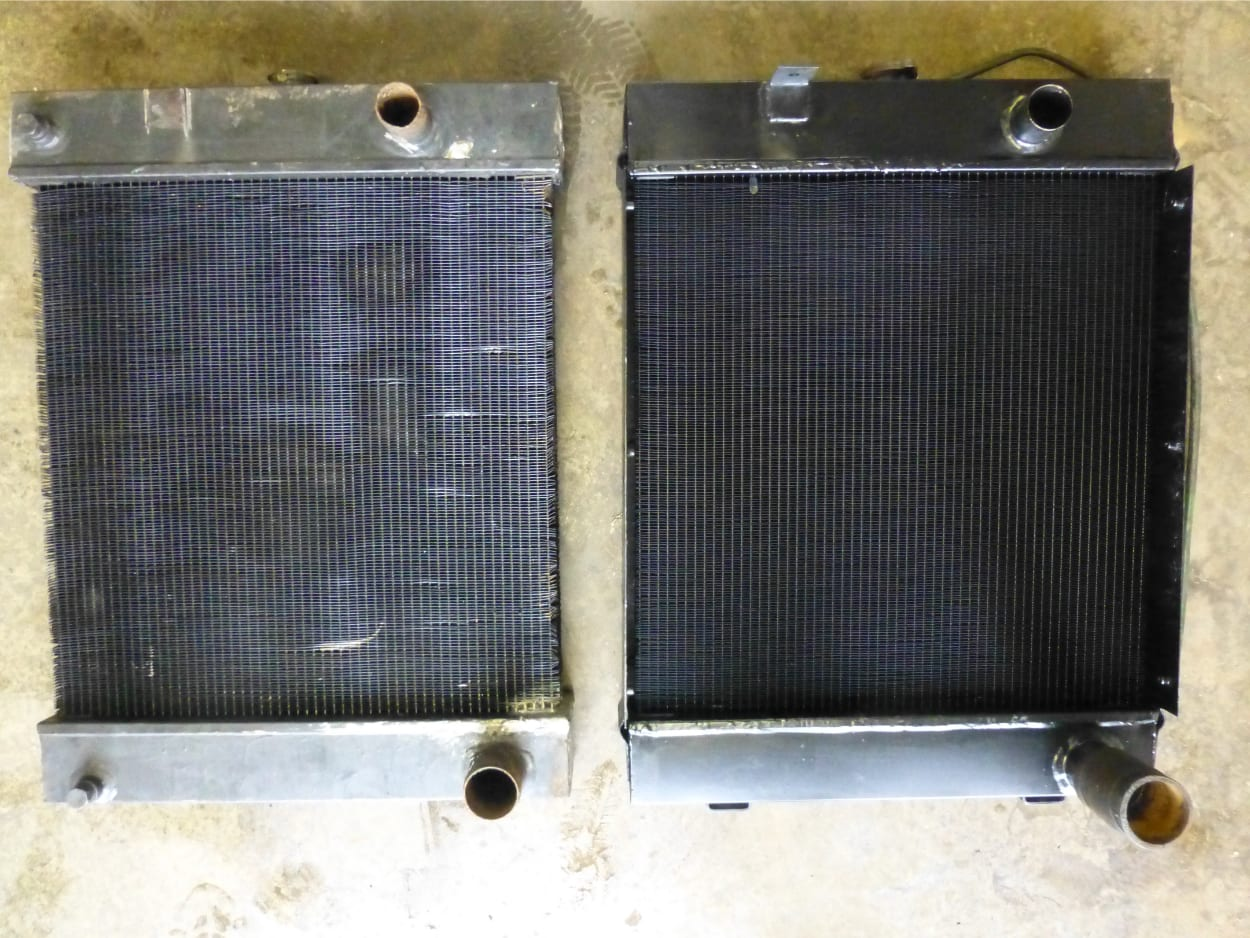 Marine Radiator from a Fishing Boat Radiator: Old Unit (left).New Unit (Right)