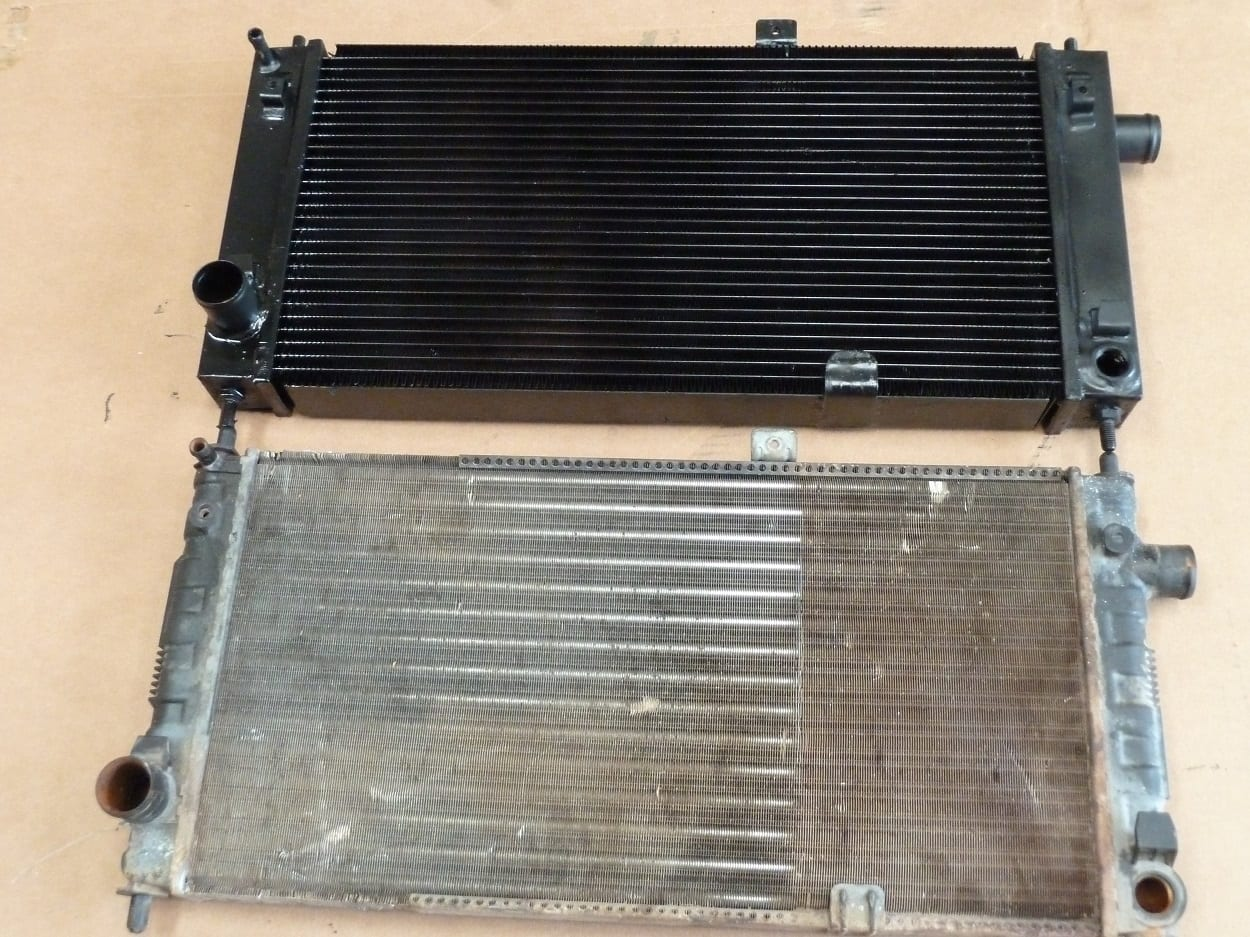 Vauxhall Astra Mk 1 Old Radiator and New Copper and Brass Replacement Radiator Devon