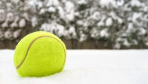 Tennis ball in the snow